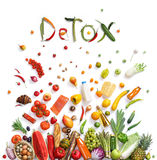Detox, food choice. / healthy food symbol represented by foods explosion to show the health concept of eating well with fruits and vegetables Royalty Free Stock Photo