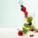 Detox fruit infused flavored water Fresh summer fruits on metal Stock Photography