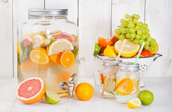 Detox fruit infused flavored water, lemonade, cocktail in a beverage dispenser Royalty Free Stock Photography
