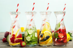 Detox fruit infused flavored water Royalty Free Stock Photos