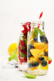 Detox fruit infused flavored water Stock Photo