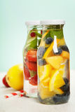Detox fruit infused flavored water Stock Photography