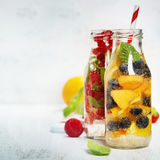 Detox fruit infused flavored water Stock Image