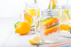 Detox fruit infused flavored water. Refreshing summer homemade lemonade cocktail Royalty Free Stock Image