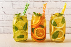Detox fruit infused water. Refreshing summer homemade cocktail. Detox fruit infused water. Refreshing summer homemade cocktail, selective focus royalty free stock images