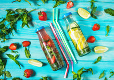 Detox fruit infused water. Refreshing summer homemade cocktail. Selective focus royalty free stock photo