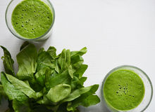 Detox green juice. Apple and spinach natural juice. Eat local food and be healthy. Veggies and fruits - excellent for diet Royalty Free Stock Photo