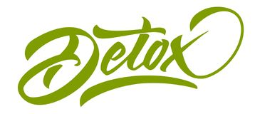 DETOX green lettering. Handmade modern calligraphy vector illustration