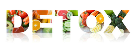 Detox, healthy eating and vegetarian diet concept Stock Images