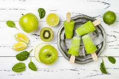 Detox, healthy green smoothie popsicles. stock photography