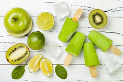 Detox, healthy green smoothie popsicles. royalty free stock photo