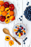 Detox and healthy superfoods breakfast bowl concept. Vegan coconut milk chia seeds pudding with various fruits and blueberries. Stock Photography
