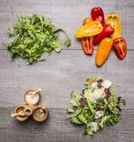 Detox i diety pojęcia karmowi składniki dla kulinarnego jarskiego jedzenia, pieprz, arugula sałatka, condiments, pikantność Obraz Stock