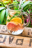 Detox infused citrus water in glass pitcher with oranges, lemons, grapefruits, limes, fresh mint on wood fruit garden box, green p royalty free stock photography