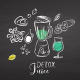 Detox juice ingredients on chalkboard Stock Photos