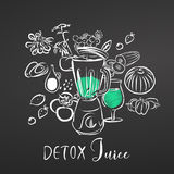Detox Juice. Vegetables and Mixer. Chalk on Blackboard Royalty Free Stock Image