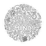 Detox la vostra mente Illustrazione di concetto con iscrizione e gli scarabocchi royalty illustrazione gratis