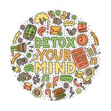 Detox la vostra mente Illustrazione di concetto con iscrizione e gli scarabocchi illustrazione di stock