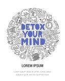 Detox la vostra mente Illustrazione di concetto con iscrizione e gli scarabocchi illustrazione vettoriale