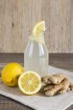 Detox Lemon and Ginger Drink in a Bottle Royalty Free Stock Images