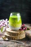 Detox matcha zielonej herbaty chia ziarna ombre ablegrujący pudding Weganinu deser z kokosowym mlekiem Jarosza zdrowy śniadanie zdjęcie royalty free