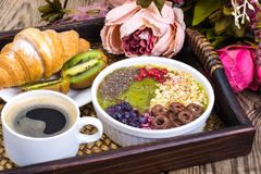Detox menu with fresh fruit, chia seeds and cereal for breakfast. Healthy food stock photos