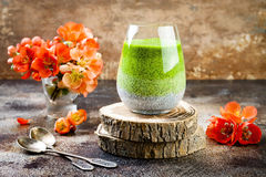 Detox ombre layered matcha green tea chia seed pudding. Vegan dessert with coconut milk. Healthy vegetarian breakfast Stock Photo