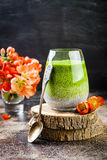 Detox ombre layered matcha green tea chia seed pudding. Vegan dessert with coconut milk. Healthy vegetarian breakfast Royalty Free Stock Images