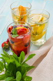 Detox owoc natchnąca doprawiająca woda obraz stock