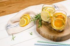 Detox owoc natchnąca doprawiająca woda Zdjęcia Stock