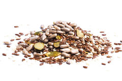 Detox seeds. Sunflower sesame flax and pumpkin seeds mix white isolated Stock Photos