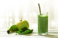 Detox shake with some vegetables and fruits mixed in. Royalty Free Stock Images