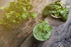 Detox smoothie with green leaves flare effect applied Stock Photography