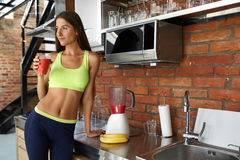 Detox Smoothie. Healthy Fit Woman Drinking Diet Fitness Drink Royalty Free Stock Photography