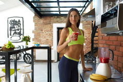 Detox Smoothie. Healthy Fit Woman Drinking Diet Fitness Drink Stock Photos