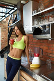 Detox Smoothie. Healthy Fit Woman Drinking Diet Fitness Drink Royalty Free Stock Photo