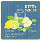 Detox smoothie. Illustration of  green detox smoothie recipe with ingredients Stock Photos
