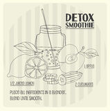 Detox smoothie recipe. Vector hand-drawn illustration Royalty Free Stock Photo