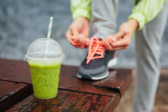 Detox smoothie before running workout Stock Photo