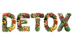 Detox large text from food. Detox spelt using large letters made of fruits, vegetables and pulses royalty free stock photos