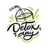 Detox-Tageshandgezogene Beschriftung und Cocktailillustration Getrennt auf wei?em Hintergrund lizenzfreie abbildung