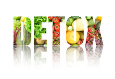 Detox. Text made from fruits and vegetables Royalty Free Stock Photo