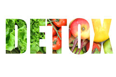 Detox. Text made from fruits and vegetables Stock Photos