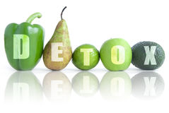 Detox. Text made from green fruits and vegetables Stock Images