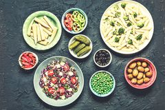 Detox, vegetarian food, broccoli, Manicotti, keno salad, olives, cherry tomatoes, pickles, pickled corn, hot chili pepper. Detox, detox is a program. Vegetarian royalty free stock photos
