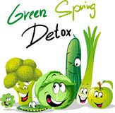 Detox verde de la primavera - diseño divertido del vector con la verdura ilustración del vector
