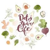 Detox votre vie Fond tiré par la main de lettrage et de fruits et légumes Photographie stock libre de droits