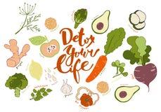 Detox votre vie Fond tiré par la main de lettrage et de fruits et légumes Images stock