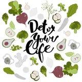 Detox votre vie Fond tiré par la main de lettrage et de fruits et légumes Photographie stock