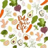 Detox votre vie Fond tiré par la main de lettrage et de fruits et légumes Photo libre de droits